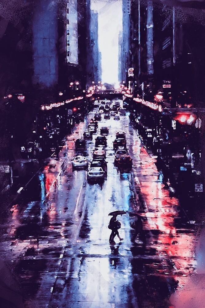 New York at Night  by Andrea Mazzocchetti