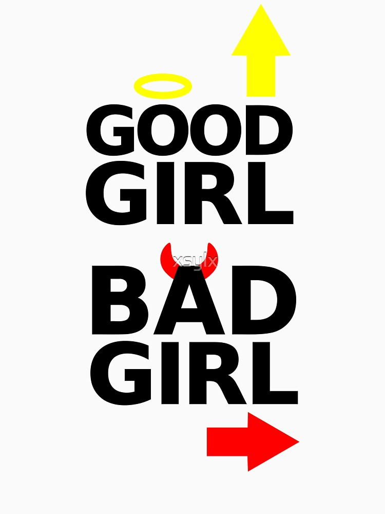 good girl bad girl with devil horns & halo graphic by xsylx