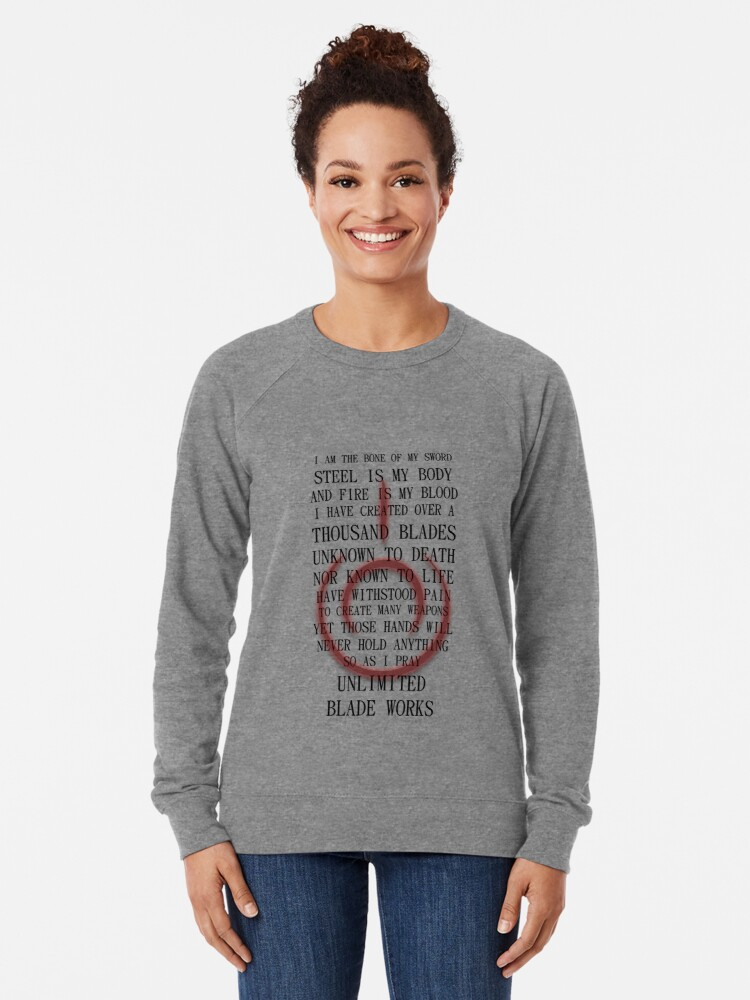 Alternate view of Fate Stay Night Unlimited Blade Works Archer And Shirou Quote With Command Seal Lightweight Sweatshirt