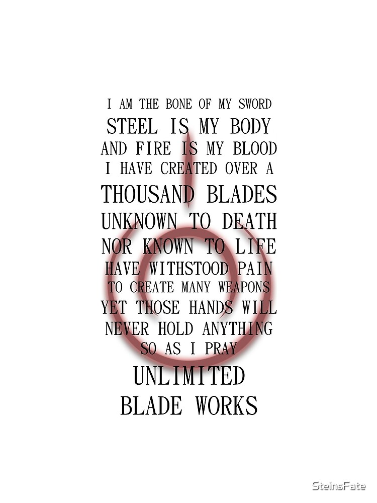 Fate Stay Night Unlimited Blade Works Archer And Shirou Quote With Command Seal by SteinsFate