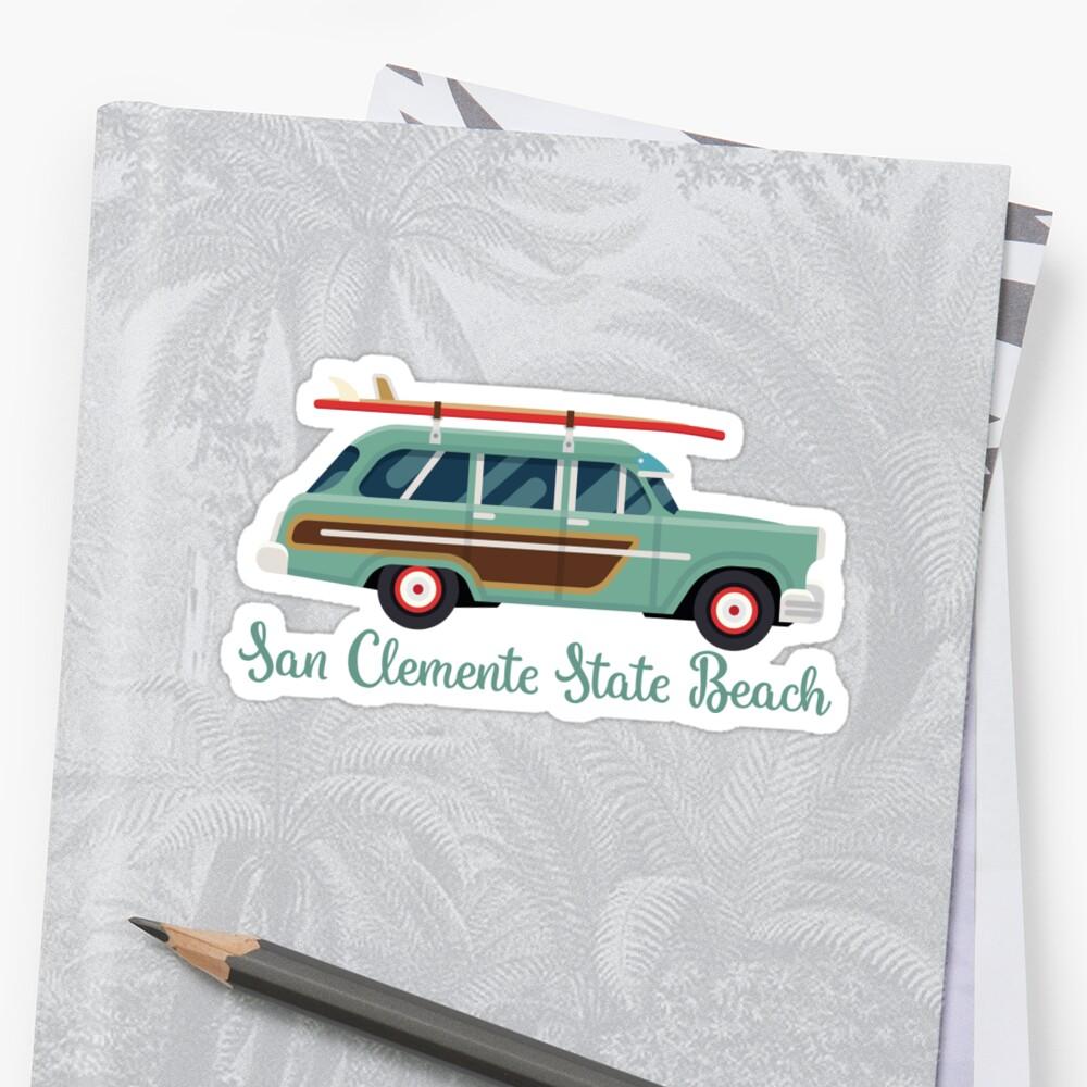 San Clemente State Beach California Retro Surf Wagon by awkwarddesignco