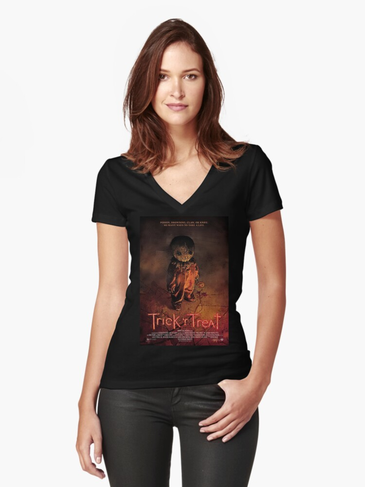Trick 'R Treat Women's Fitted V-Neck T-Shirt Front