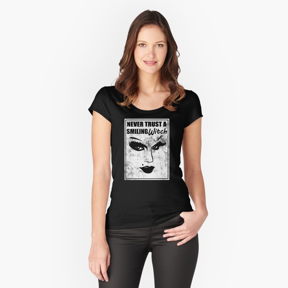 witch quote with face graphic never trust a smiling witch Women's Fitted Scoop T-Shirt Front