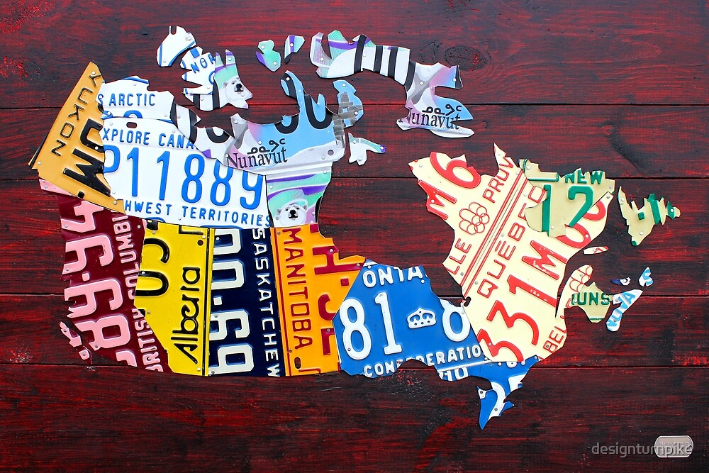 Canada License Plate Map by designturnpike
