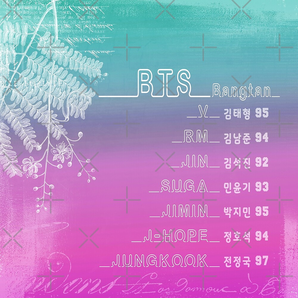 BTS Member Names in English & Korean. Love Them All! by InniCo