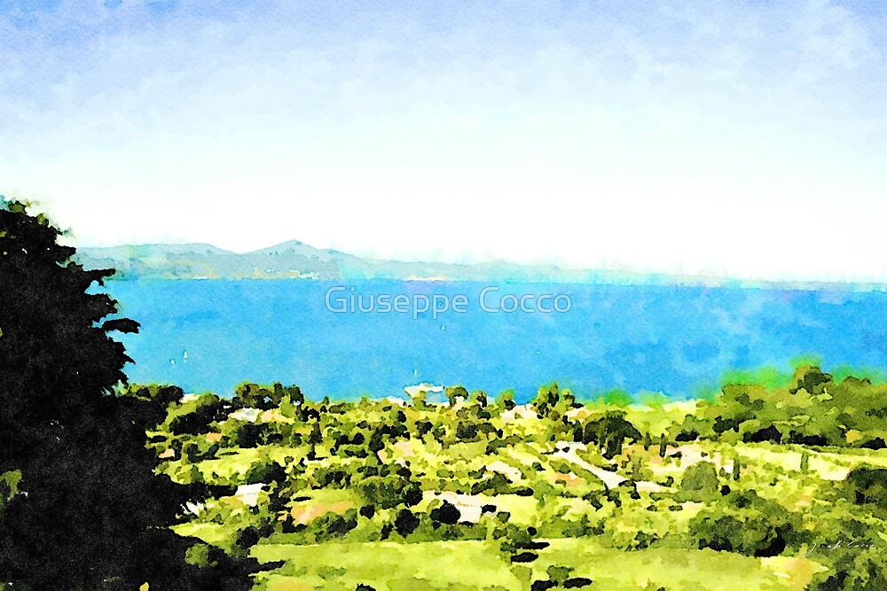 Bracciano: landscape with lake by Giuseppe Cocco