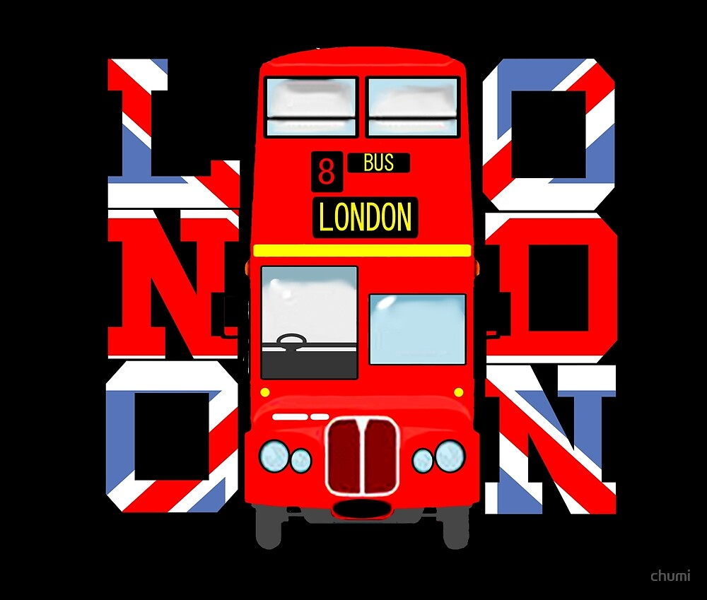 London  Double-decker bus  England Flag novelty Gifts  by chumi