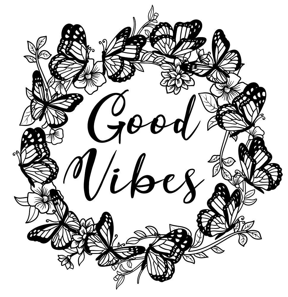 Good vibes, butterflies and flowers by BananaPrints