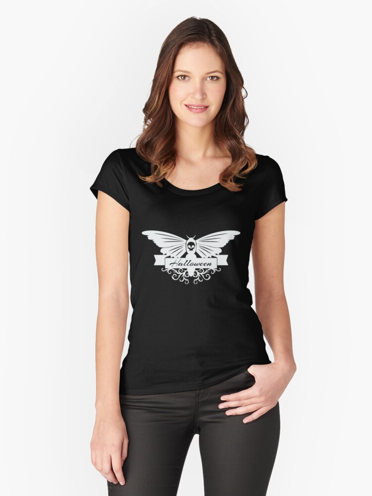 Black Halloween Skull Butterfly Women's Fitted Scoop T-Shirt Front