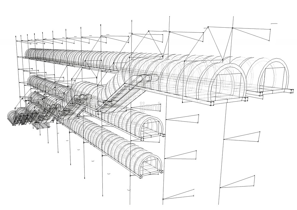 escalator of center pompidou, white and black, lines drawing by ijani