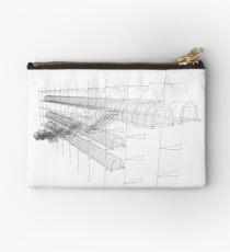 escalator of center pompidou, white and black, lines drawing Studio Pouch