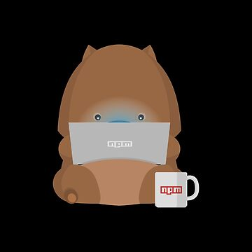 NPM: Wombat with laptop and a cup of coffee (Black background) by hellkni9ht