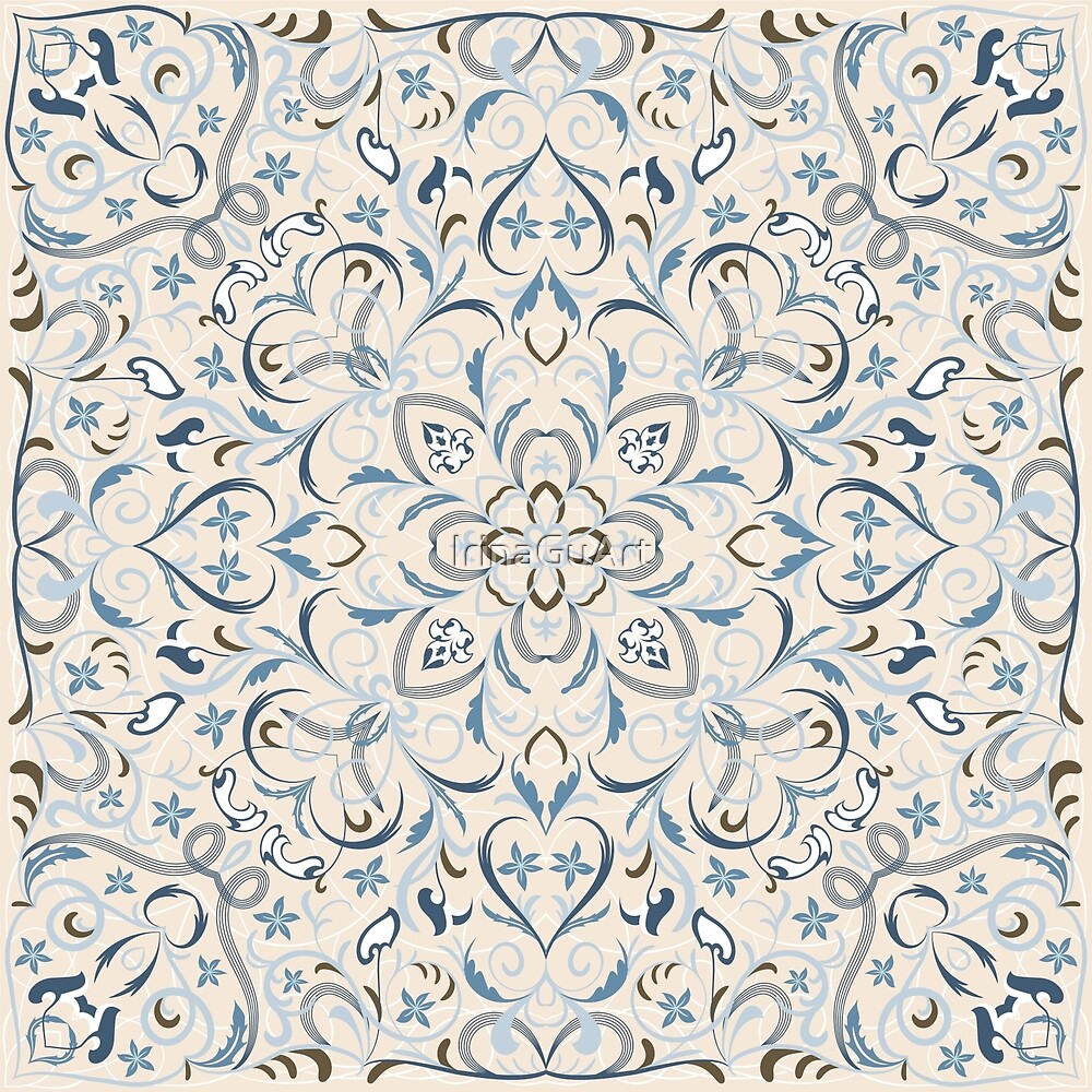 Bright square arabic ornate pattern by IrinaGuArt