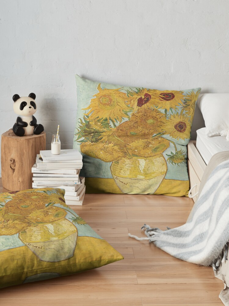 Alternate view of Vincent van Gogh's Sunflowers Floor Pillow