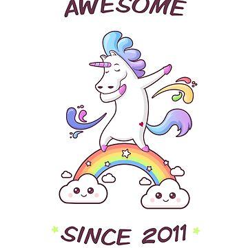 Awesome Since 2011 - Dabbing Unicorn - 7th Birtday by zoljo