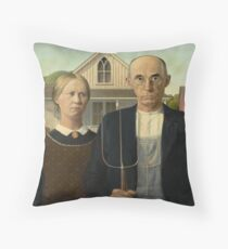 Grant Wood - American Gothic Throw Pillow