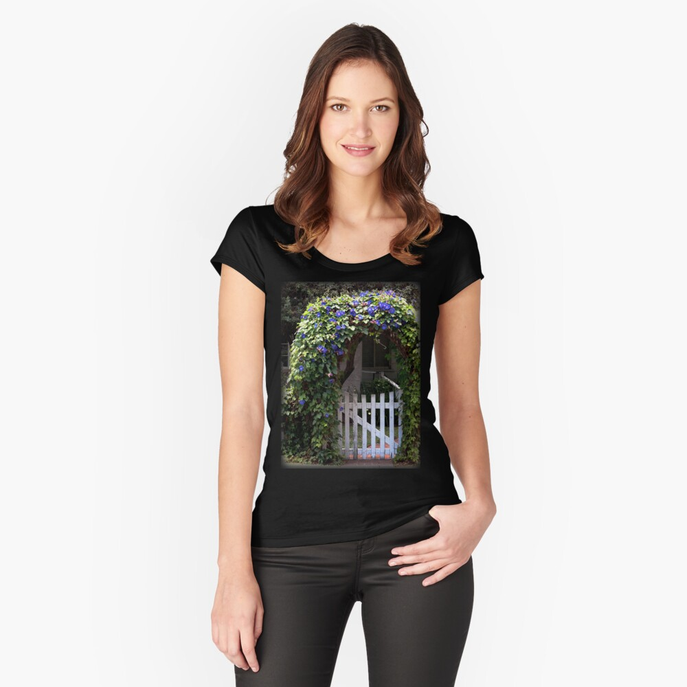Morning Glory Gate from A Gardener's Notebook Fitted Scoop T-Shirt