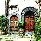 Bracciano: two gates with plants by Giuseppe Cocco