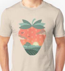 Camiseta ajustada campos de fresas