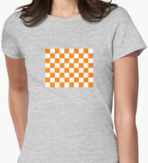 Orange and White Tennessee Vols Checkerboard Women's Fitted T-Shirt
