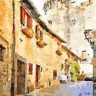 Bracciano: foreshortening with tower of the castle by Giuseppe Cocco