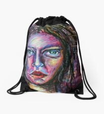 Pink Portrait Drawstring Bag