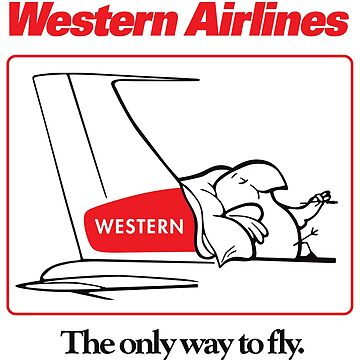 Western Airlines The Only Way to Fly Cartoon Bird Mascot T-Shirt - White Version by darkvortex