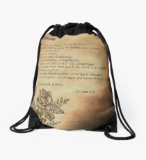 """Love is"" Bible verse 1Cor:13 Drawstring Bag"
