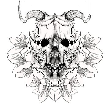 Japanese Skull Inspired Kabuki Mask (On White) by LukeMartinsArt