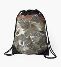 Organic Space Structure - white Drawstring Bag