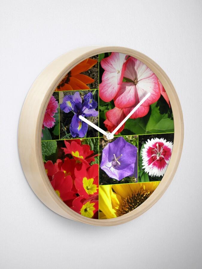 Alternative Ansicht von Sunkissed Blumen-Collage Uhr