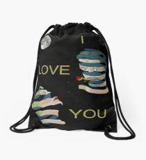 I  LOVE  YOU two heads Drawstring Bag