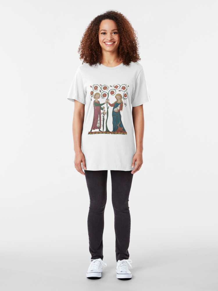 Alternate view of Medieval Couple, German circa 1250 Slim Fit T-Shirt