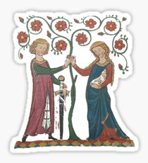 Medieval Couple, German circa 1250 Sticker