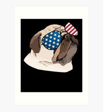 4e5ee0566 Funny Pug American Flag Dog T-Shirt 4th of July Patriotic Art Print