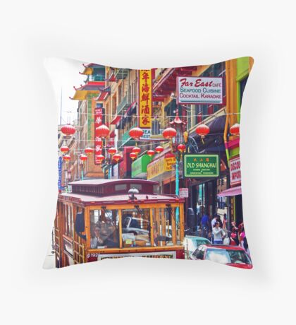 Chinatown Streetcar Throw Pillow
