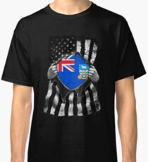 Falkland Islands Ripped American Black and White Flag Showing True Falkland Islanders Flag Origins Perfect For USA Resident With Falkland Islanders Roots Classic T-Shirt