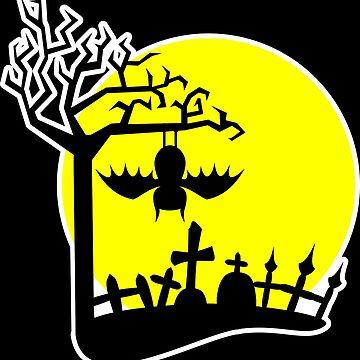 Funny Halloween Bat Graveyard by xsylx
