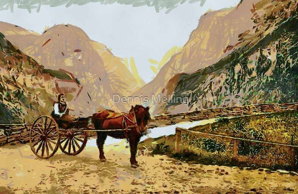 A Norwegian  horse-drawn carriage on the road to Stalheim,  Norway 19th century by Dennis Melling