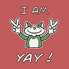 Cute Funny Birthday Cat - I Am 4 Yay! - Green Cat by stíobhart matulevicz