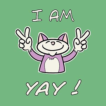 Cute Funny Birthday Cat - I Am 4 Yay! - Pink Cat by madra