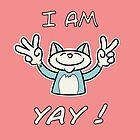 Cute Funny Birthday Cat - I Am 5 Yay! - Blue Cat by stíobhart matulevicz