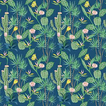 Cactus Flowers on Indigo Background by CafePretzel