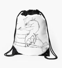 horse with hands riding a bike Drawstring Bag