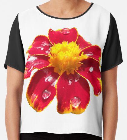 schöne rote Blume, Regentropfen, Blüte, Sommer, Sonne Chiffontop für Frauen