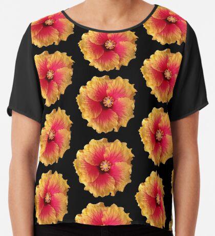 tolle bunte Blume in den Farben gelb und rot Chiffontop für Frauen
