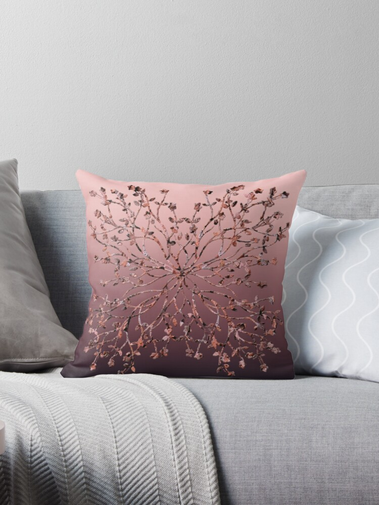 TREE BRANCH FOUR LIMBS WITH LEAVES MARSALA OMBRE PATTERN by ozcushionstoo