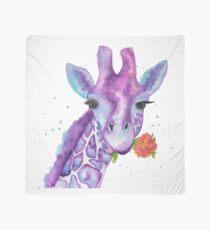 Zoya, the Purple Giraffe Watercolor Scarf