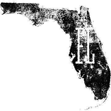 Florida Distressed Map FL Abbreviation by Chocodole