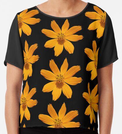 zauberhafte Blume, Blüte, Sommer, Sonne, orange Chiffontop für Frauen